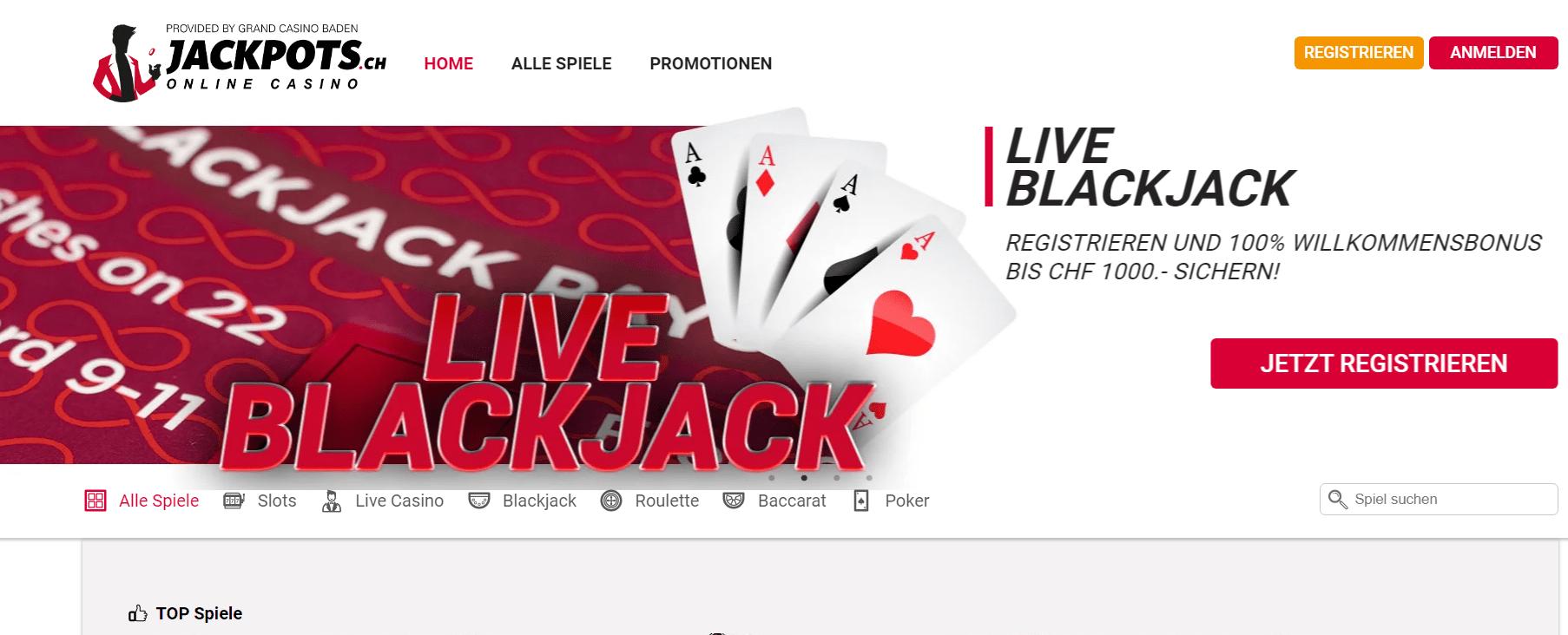 Jackpots ch live casino