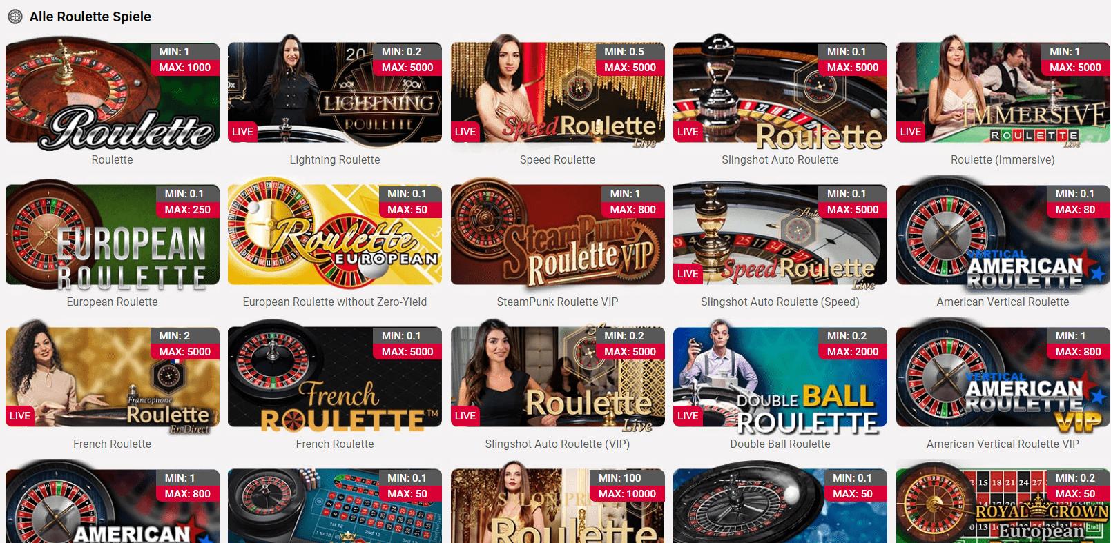 Roulette jackpots ch