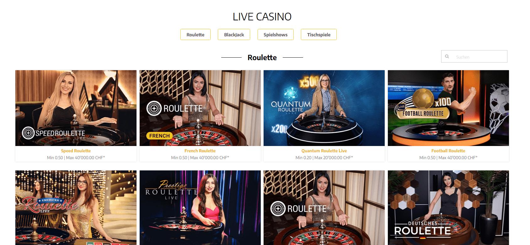 swiss4win live casino